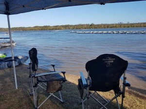 camping on riverfront powered site by nambucca river