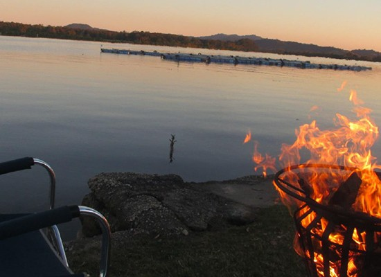 Nambucca river sunset with fire pits